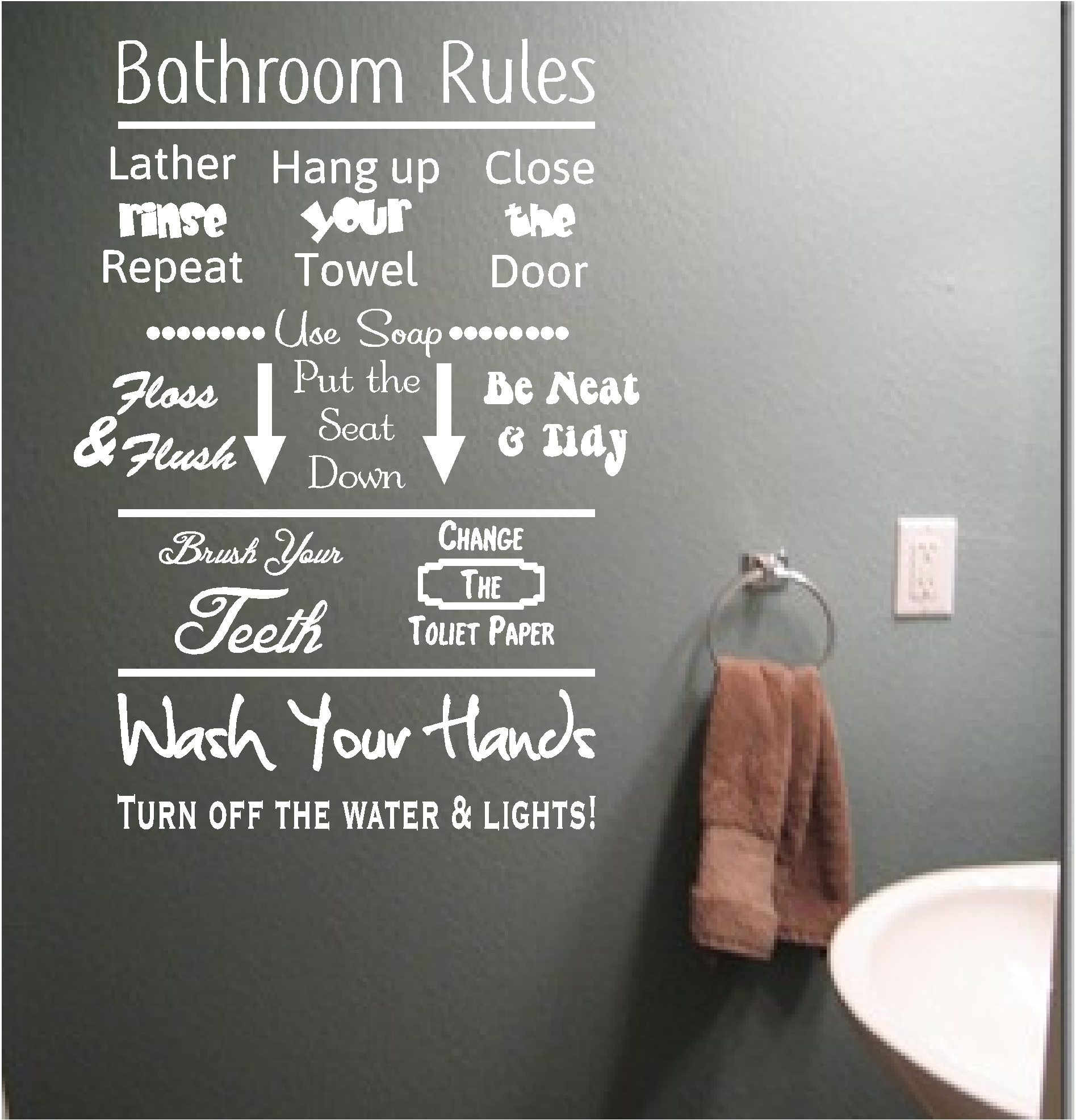 Bathroom rules vinyl wall art quote sticker wash words for Bathroom design quotes