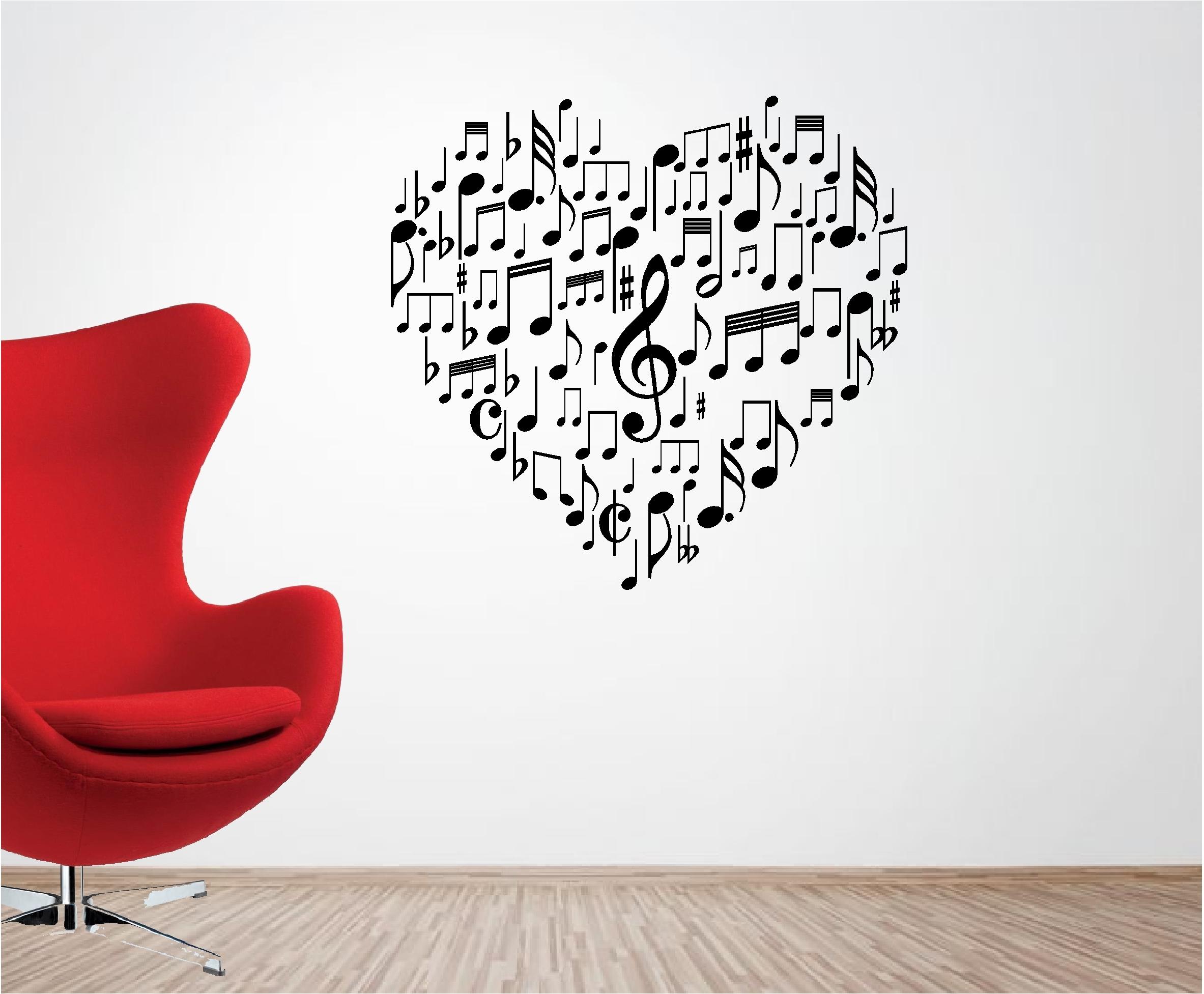 Musical coraz n amor adhesivo de vinilo para pared - Vinilos de amor ...