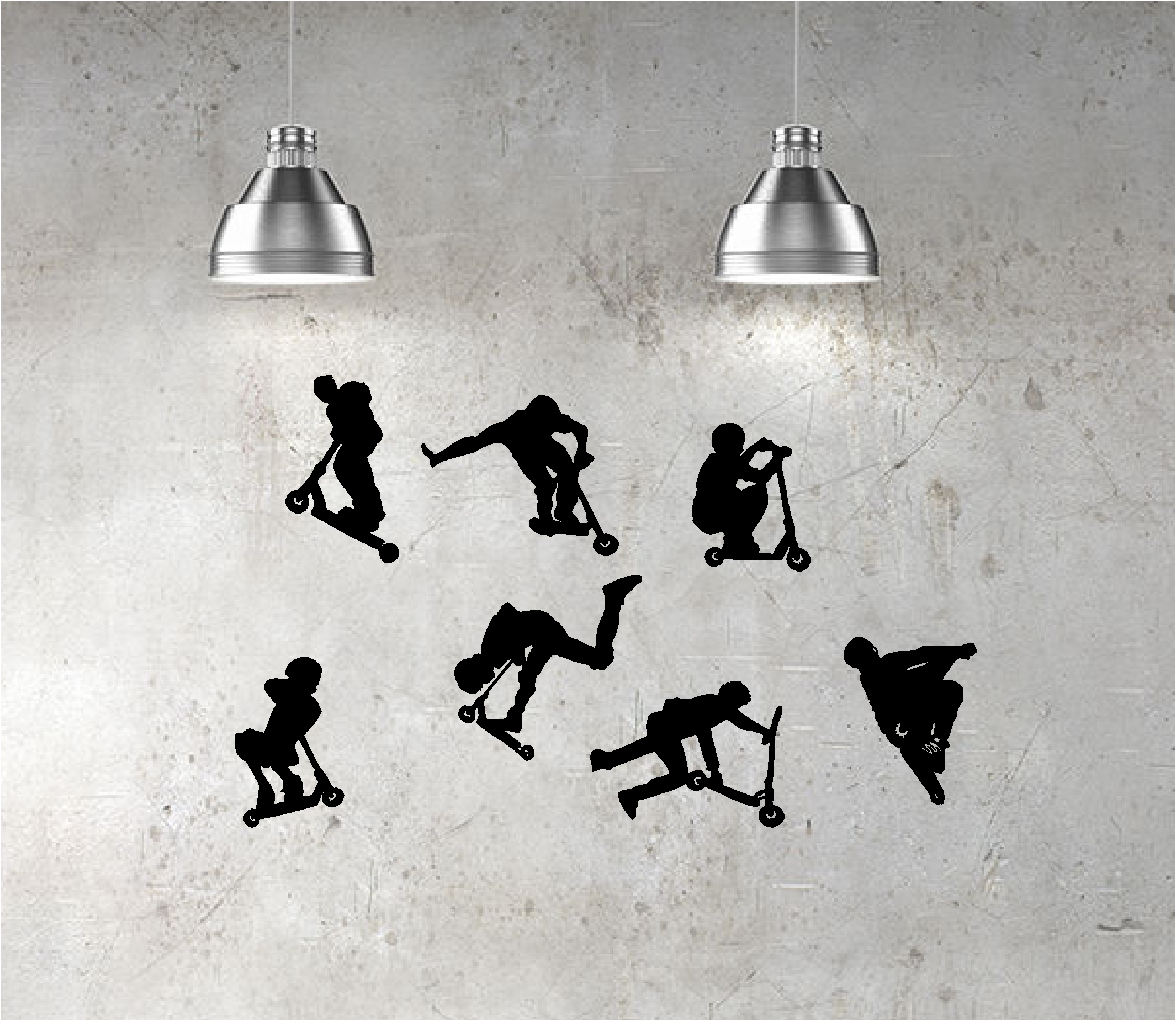 7 x stunt scooter wall art stickers kids bedroom decal scooters jd 7 x stunt scooter riders vinyl wall art amipublicfo Gallery